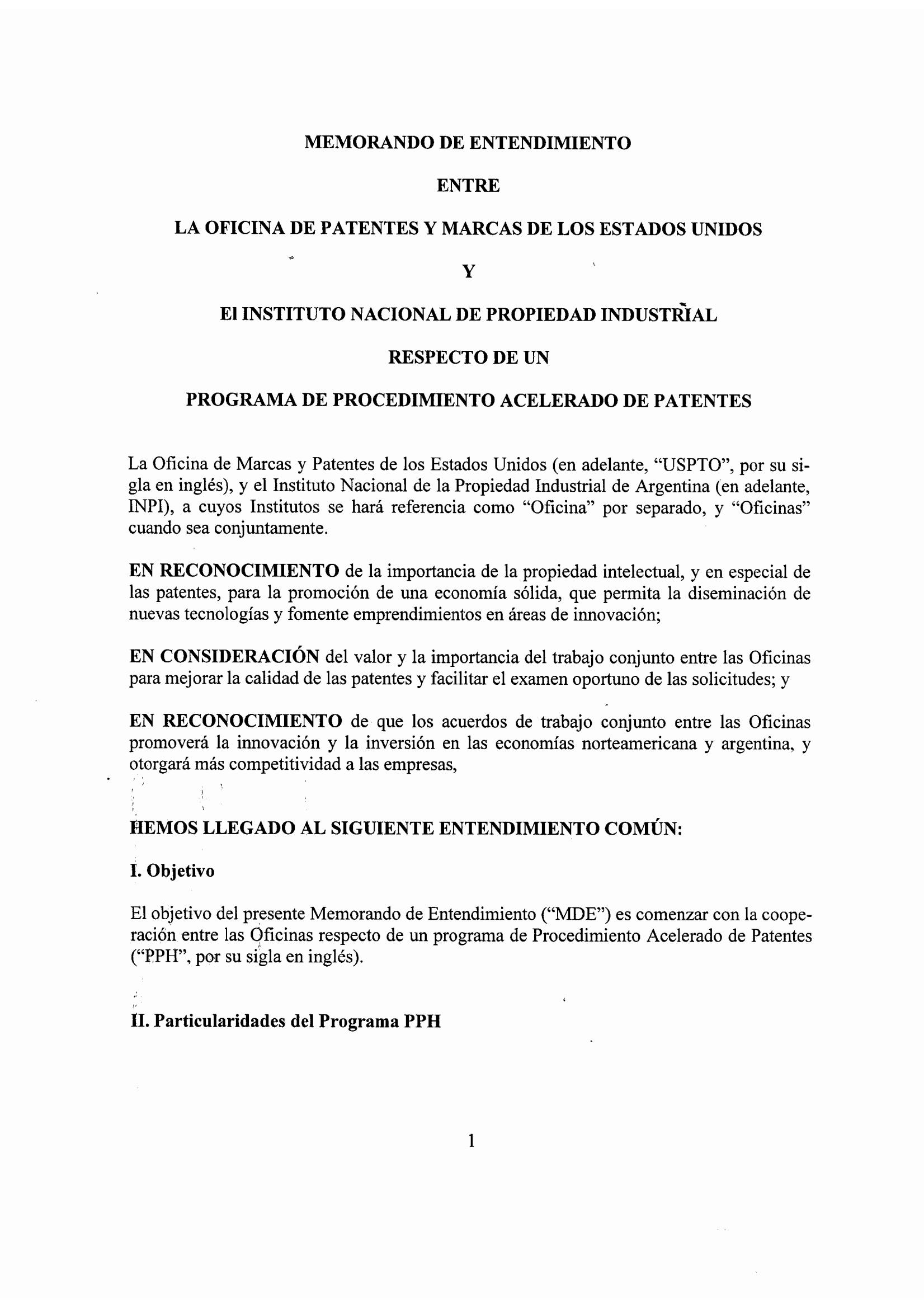 Argentina: Se difunde Memorando de Entendimiento de